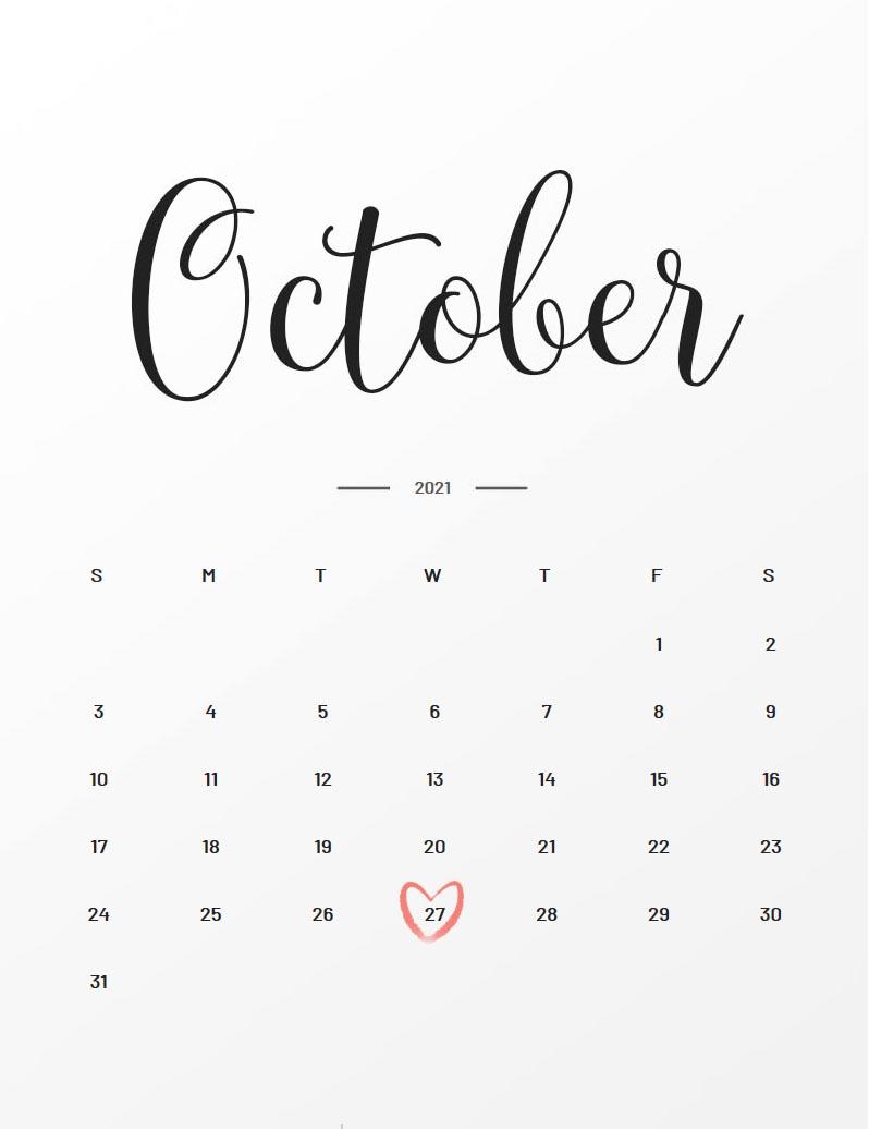October 27 2021 Calendar Due Date: October 27, 2021 | During Pregnancy