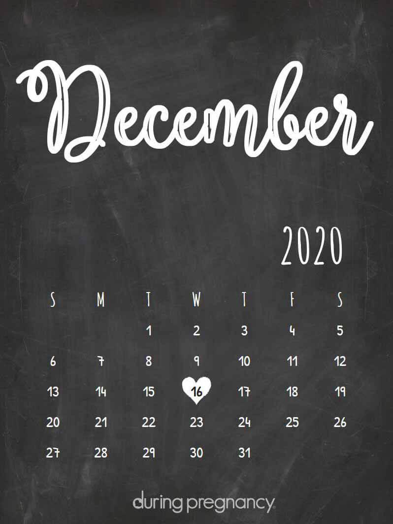 Due date calendar black chalkboard for December 16, 2020