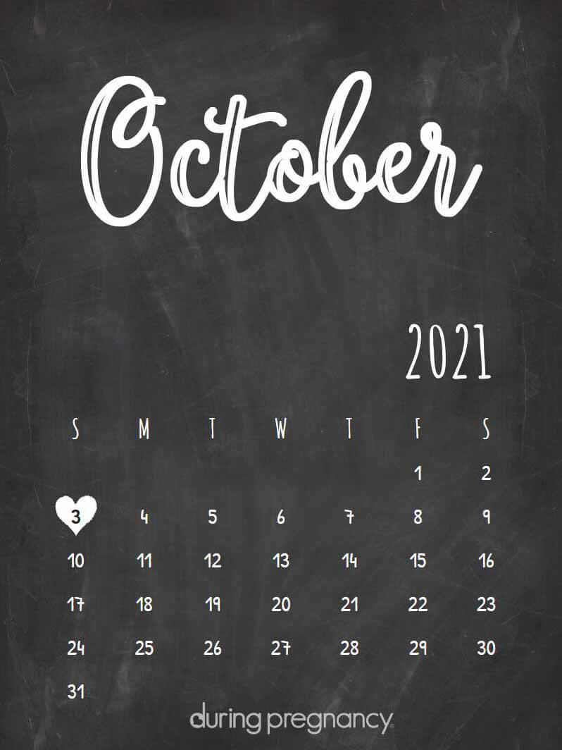 Due date calendar black chalkboard for October 3, 2021